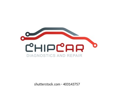 Vector logo with abstract car line silhouette. Diagnostics and repair car service. Automobile chip or scheme symbol. Design concept for diagnosis of automobile electronics, circuit board.