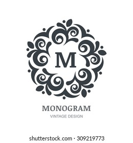 Vector logo abstract design. Vintage elegant monogram template. Decorative frame background. Concept for boutique, hotel, restaurant, floral shop, jewelry, fashion, wine, heraldic, emblem.