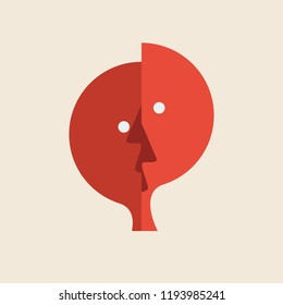 Vector logo abstract dual personality. Mind control and, conflict concept