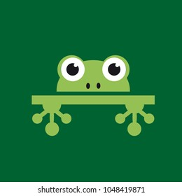 Vector logo abstract frog on green background