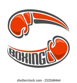Vector logo for abstract red boxing gloves closeup on a white background, emblem icon Boxing club