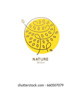 Vector logo abstract tree.Linear round emblem for design of natural products, organic shop, cosmetics and ecology concepts, health, spa and yoga, health Center.