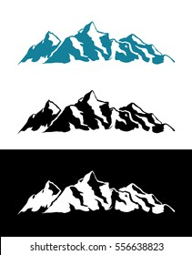 Vector Logo of Alps Mountains isolated on White and Black background.