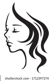 Vector logo art of a beautiful woman.