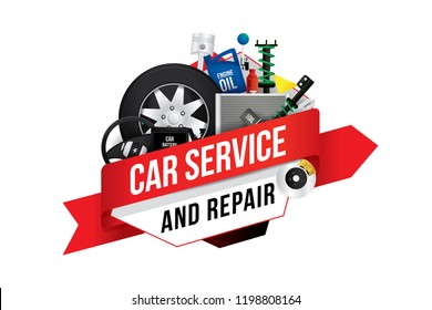 Vector logo or badge design template for car mechanic service and repair.