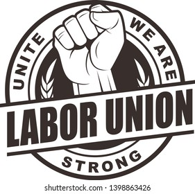 Vector logo, badge, emblem, symbol, icon for labor union with vintage style
