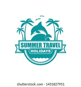 Vector logo, badge, emblem, symbol, icon template design with Summer Theme