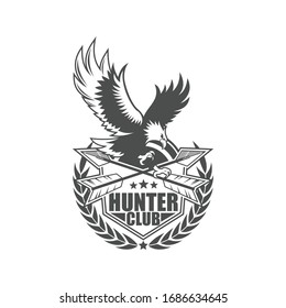 Vector logo, badge, emblem, symbol and icon template design with Hunter Theme