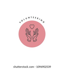 Vector logo, badge and icon for charity and volunteer concepts. Philanthropic organization sign design. Symbol of volunteer organizations