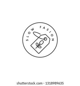 Vector logo, badge or icon for eco-friendly manufacturing - slow fasion. Eco safe sign design. Symbol of natural certified producing of clothes