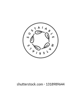 Vector logo, badge or icon for eco-friendly manufacturing - sustainable materials. Eco safe sign design. Symbol of natural certified producing of clothes