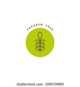 Vector logo, badge and icon for natural and organic products. Paraben free sign design. Symbol of healthy product