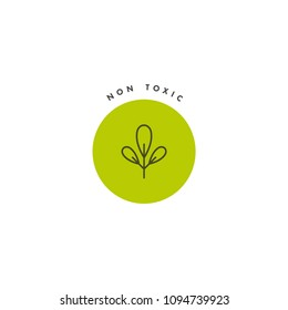 Vector logo, badge and icon for natural and organic products. Non toxic sign design. Symbol of healthy product