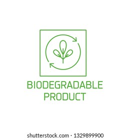 Vector logo, badge and icon for natural and organic products. Biodegradable product sign design. Symbol of healthy product