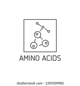 Vector logo, badge and icon for natural and health product. Amino acids sign design. Symbol of healthy eating
