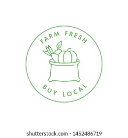 Vector logo, badge or icon for natural farm and healthy products. Symbol of buy local food