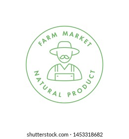 Vector logo, badge or icon for natural farm and healthy products. Symbol of farm market and antural food
