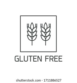 Vector logo, badge and icon for natural and organic products free from allergens ingredient. Gluten free