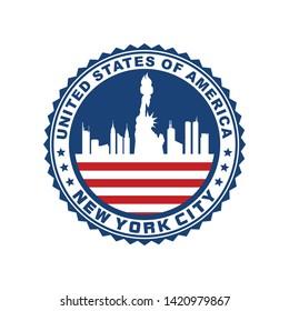 Vector logo, badge, icon, symbol, template design with New York City Theme
