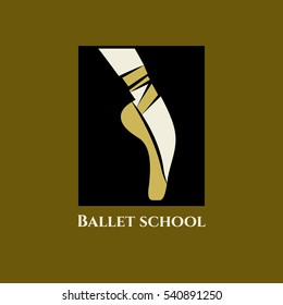 Vector logo ballet school. Icon classical dance class. Foot of  ballerina in Pointe shoes with ribbons