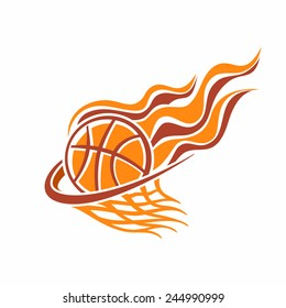 Vector logo for a basketball club, consisting of an orange fire flame burning basketball ball in a basket with net mesh on a white background