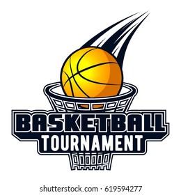 Vector logo basketball game for design, print, advertisement, web, promo on white background