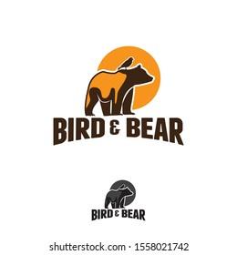 vector logo, bear with birds in vintage style design illustration