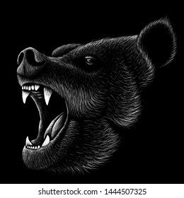 The Vector logo bear for T-shirt design or outwear print .  Hunting style bear background.