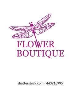 Vector logo for beauty salon, flower shop, boutique, cosmetics, design studio, designer. Elegant illustration of purple dragonfly or flying adder.