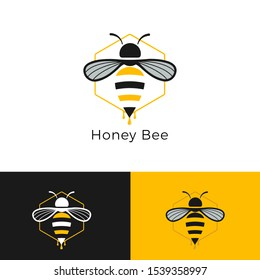 Vector logo bee. Honeycomb logo. bee honey power logos. Business icon for the company. Illustration.