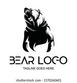 vector logo black grizzly bear silhouette.roaring bear. logo, icon, template background