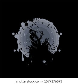 vector logo black grizzly bear silhouette with circle moon gradation and splash effect scratch.roaring bear. logo, icon, template background