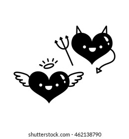 Vector logo. Black silhouette angel and devil