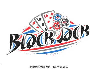 Vector logo for Blackjack, creative illustration of three sevens of different suits, original decorative brush typeface for word blackjack, simplistic gambling banner with lines and dots on white.
