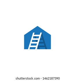 Vector Logo Blue Home House Ladder Stairs Staircase Property Construction Design