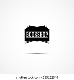 vector logo for bookshop in the form of a black silhouette of the book