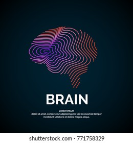 Vector logo brain color silhouette on a dark background.