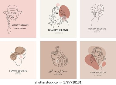 Vector logo and branding design templates in minimal style, for beauty center, fashion studio, haircut salon and cosmetics - female portrait, beautiful woman's face