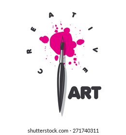 vector logo brush and blots of paint