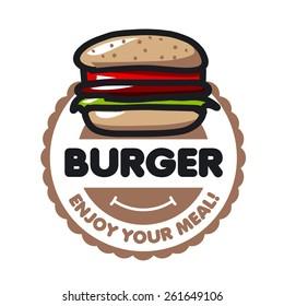 vector logo burger for menu restaurant or cafe