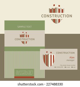 Vector logo, business card and cover for construction companies, real estate agencies. The design concept.