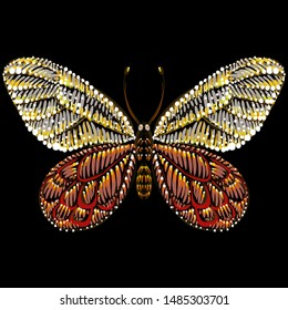 The Vector logo butterfly for tattoo or T-shirt design or outwear.  Cute print style butterfly background. This drawing is for black fabric or canvas.