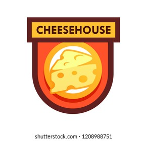 Vector Logo for Cafe or Cheese Shop and Dairy Farm Productions - Emblem illustration isolated on white backgound.