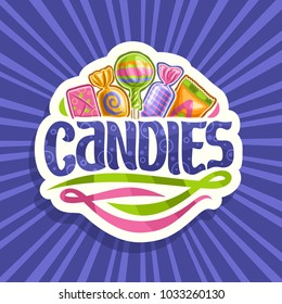 Vector logo for Candies, on cut paper sticker 5 wrapped sweets in colorful plastic package up, original brush typeface for word candies and abstract swirls down, on blue background of rays of light.