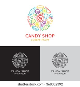 Vector logo of candy shop in linear style. Vector illustration. Templates of icons of candies in linear style.
