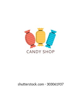 Vector logo of candy shop. Template icon of candies.