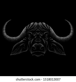 The Vector logo Cape buffalo for tattoo or T-shirt design or outwear.  Cute print style Cape buffalo background. This drawing would be nice to make on the black fabric or canvas.