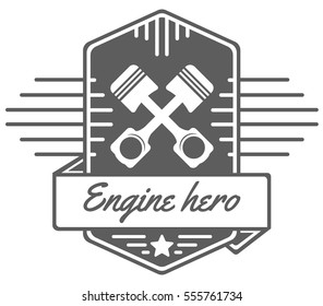vector logo of car customizing club with crossed pistons, ribbon and text; tuning motors garage insignia