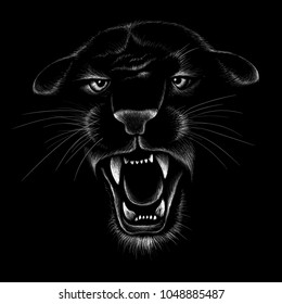 The Vector logo cat panther for T-shirt design or outwear.  Hunting style wolf background.