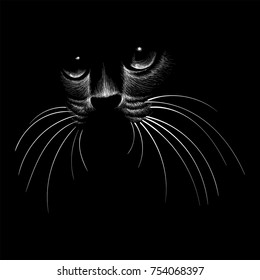 The Vector logo cat for tattoo or T-shirt design or outwear.  Cute print style cat background. Cat in shadow white line art
